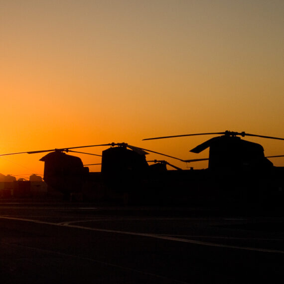 Military photography: General view of RAF Chinook helicopters lined up at Kandahar Airfield, Afghanistan.