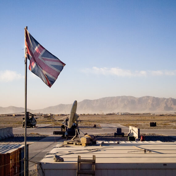 Military photography: General view of Kandahar Airfield's 'Little Heathrow' helicopter terminal.
