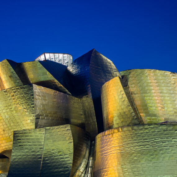 Spain travel photography: The Guggenheim Bilbao in the pre-dawn early morning.
