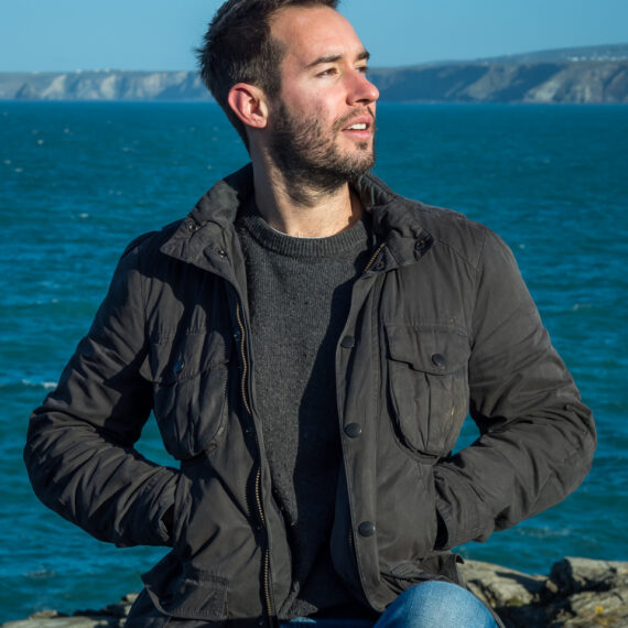 Portrait photography news and features: Portrait of John Kubale modelling a Barbour jacket in Cornwall