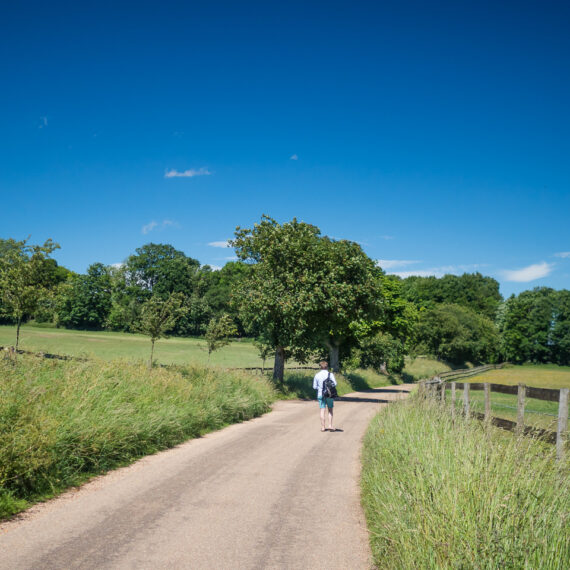 Travel photography England: A hiker walks along Watling Street, a roman road near St Albans, Hertfordshire, England.
