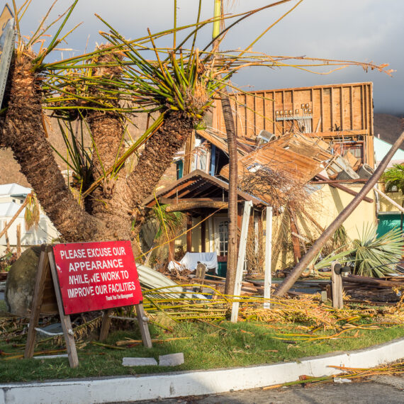 Humanitarian aid photography: Street scene in Nanny Cay, a marina in the British Virgin Islands, following Hurricane Irma.