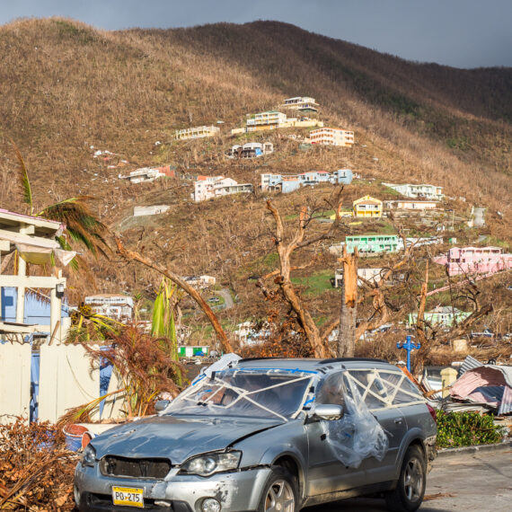 Humanitarian aid photography: Wrecked vehicles and buildings in Roadtown, the capital of the British Virgin Islands, following Hurricane Irma.