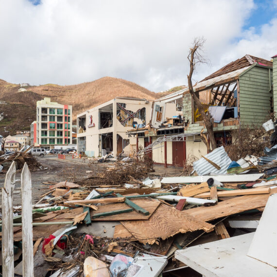Humanitarian aid photography: Wrecked buildings in Roadtown, the capital of the British Virgin Islands, following Hurricane Irma.