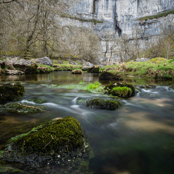 Travel photography England: Malham Cove, a limeston cliff on the Pennine Way long-distance footpath in North Yorkshire, UK, on 17 April 2018.