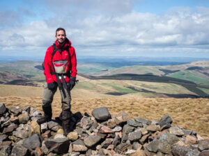 Andy Wasley pictured on Windy Gyle, a hill on the Pennine Way long-distance footpath through the Cheviot Hills on the border between England and Scotland on 26 April 2018.