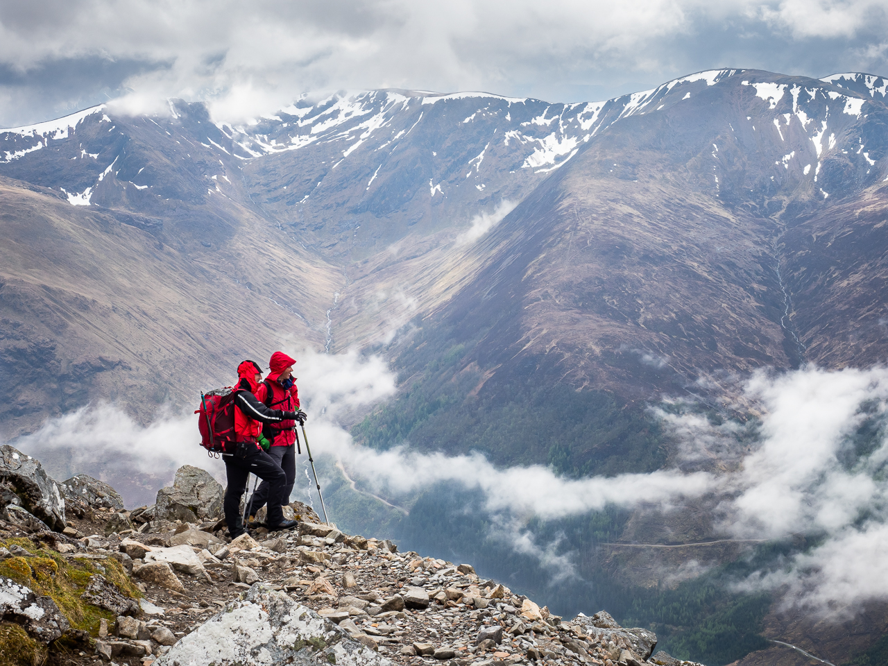 Travel photography Scotland: Adventure travel photography: Members of the Royal Air Force Mountain Rescue Team ascend Ben Nevis, Britain's highest mountain, on 7 April 2018 as part of celebrations marking the RAF's 100th anniversary.