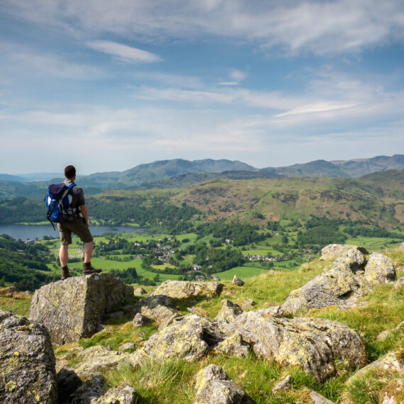 Travel photography England: View towards Grasmere from Stone Arthur, a rock formation in the Lake District, Cumbria, England.