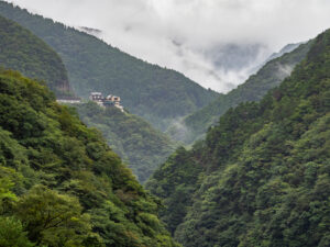 Distant view of Hotel Iyaonsen, a hotel spa in Tokushima Prefecture, Shikoku, Japan.