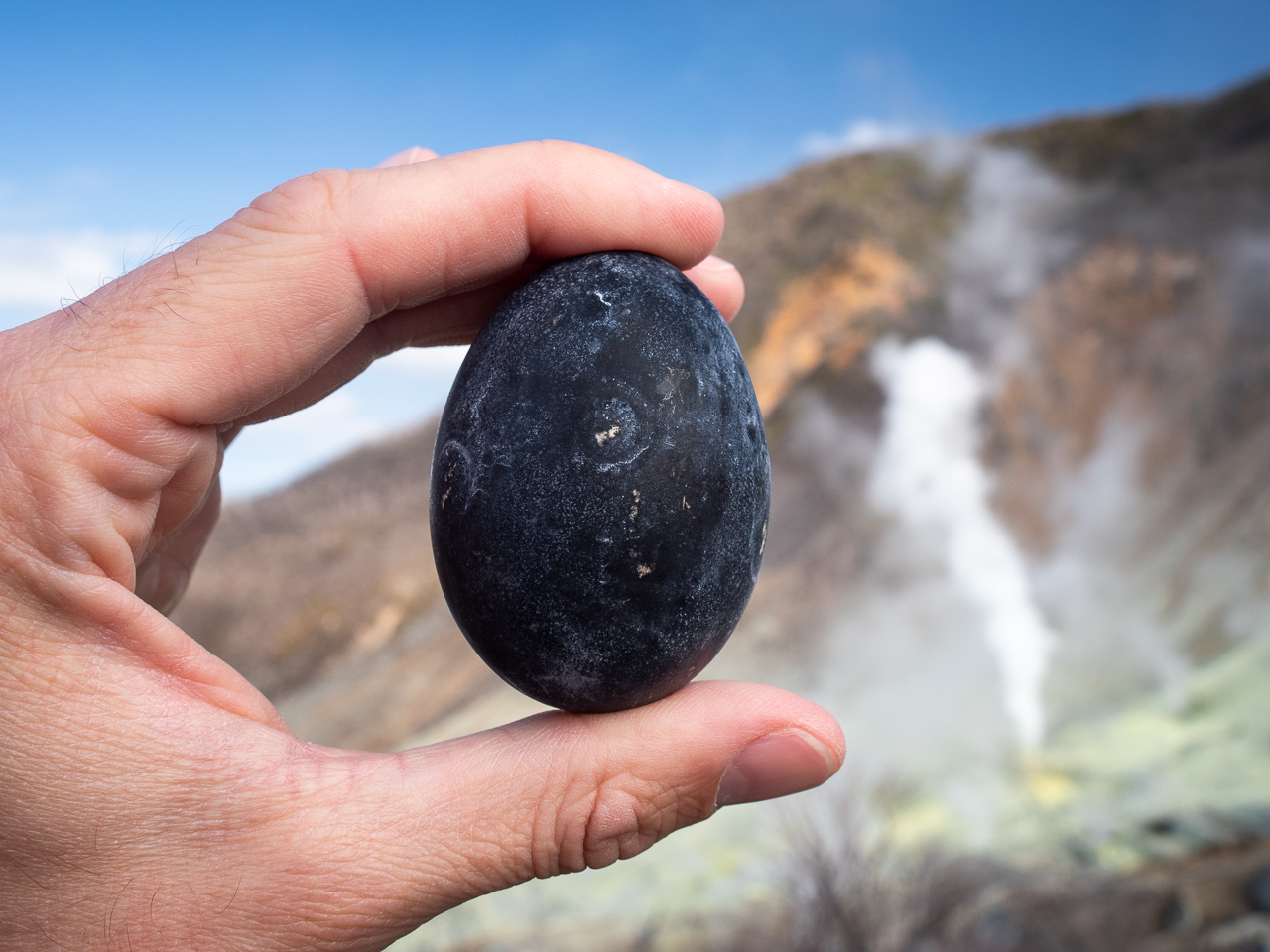 An Owakudani egg - boiled in geothermal hot spings on the side of Mount Hakone, an active volcano in Hakone, Japan. The water turns the eggshell jet black.