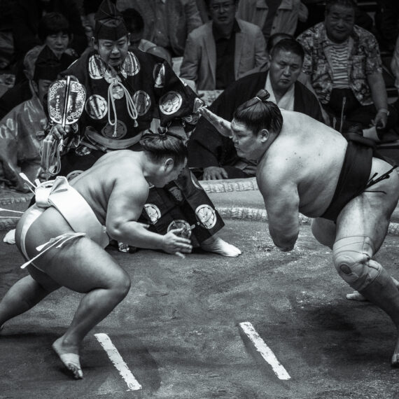 Japan travel photography: Sumo wrestlers at the 2018 Sumo Championship, Ryogoku Kokugikan national stadium, Tokyo, Japan.