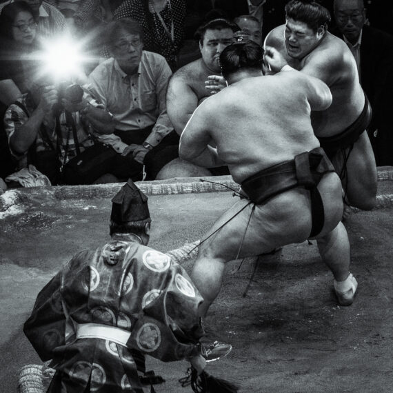 Sumo wrestlers at the 2018 Sumo Championship, Ryogoku Kokugikan national stadium, Tokyo, Japan.