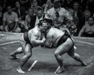 Sumo wrestlers at the 2018 Sumo Championship, Ryogoku Kokugikan national stadium, Tokyo, Japan.