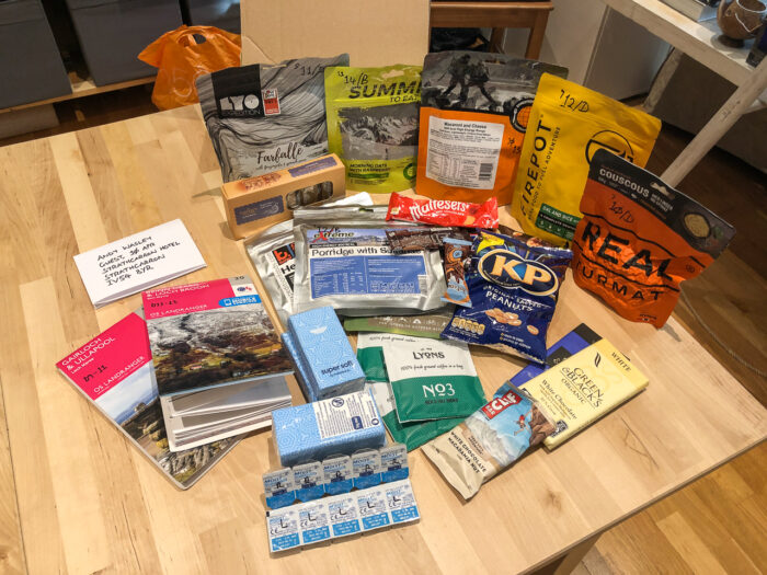 A rations parcel prepared for the Cape Wrath Trail, including a mixture of high-energy food, dehydrated meals and essentials.
