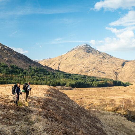 Hikers in Glen Pean, Scotland.