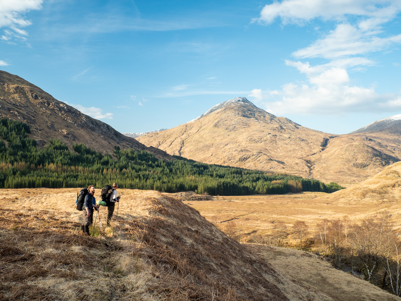 Coronavirus and hiking: Hikers in Glen Pean, Scotland.