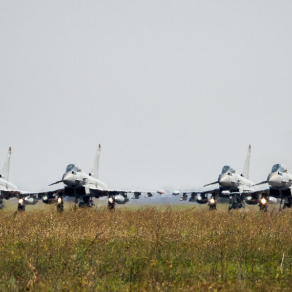Military photography: Four Royal Air Force Typhoon FGR4 aircraft have left Romania after a five-month tour of duty. The aircraft deployed to Mihail Kogalniceanu Air Base in April 2017 to support NATO's enhanced air policing mission, and spent alternate weeks on high-readiness standby to defend the Alliance's airspace. The Typhoons were part of 135 Expeditionary Air Wing, which was supported by more than 300 regular and reserve RAF personnel from 16 units, as well as soldiers from the Royal Engineers. The Royal Canadian Air Force will assume responsibility for the NATO mission from 31 August.