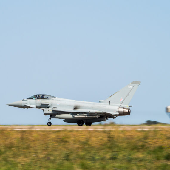 Military photography: A Typhoon FGR4 comes up to takeoff speed as it departs from Mihail Kogalniceanu Air Base, Romania, on 28 August 2017.