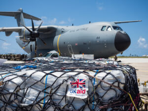 Humanitarian aid photography: UK military passengers board an RAF A400M Atlas transport aircraft in Barbados on 9 September 2017, preparing to deliver UK aid to Caribbean islands stricken by Hurricane Irma.Royal Air Force logisticians from RAF Brize Norton have assisted with the delivery of military personnel and aid cargo to the Caribbean to support disaster relief in the wake of Hurricane IRMA. RAF aircraft - including C-17, A400M and Voyager aircraft - are supporting a joint task force of RAF, Royal Marines, Army and Royal Navy personnel who are supporting the Department for International Development as it delivers aid to stricken Caribbean islands.