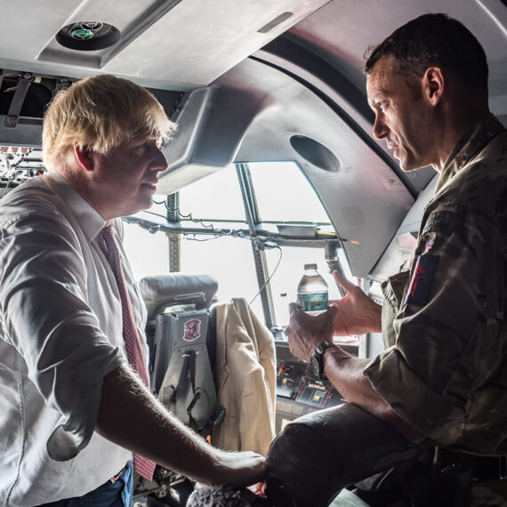 Humanitarian aid photography: The UK Foreign Secretary, Boris Johnson, discusses humanitarian aid and disaster relief operations with Brigadier John Ridge aboard an RAF C-130J Hercules en route to the British Virgin Islands. Brig Ridge is the Operation RUMAN Task Force Commander, responsible for the UK's military contribution to relief efforts in British Overseas Territories following Hurricanes Irma and Jose. The Overseas Territories are being supported by a task force of military specialists from the Royal Navy, Royal Marines, Army and Royal Air Force. The Forces have deployed a fleet of RAF Air Mobility aircraft, RAF and Royal Navy helicopters and the vessel RFA Mounts Bay to the region to support efforts.