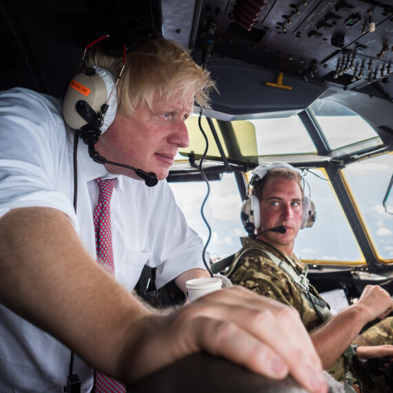 Humanitarian aid photography: The Foreign Secretary, Boris Johnson, flies aboard a Royal Air Force C-130J Hercules to the British Virgin Islands. British Overseas Territories affected by Hurricanes Irma and Jose are being supported by a task force of military specialists from the Royal Navy, Royal Marines, Army and Royal Air Force. The Armed Forces have deployed a fleet of RAF Air Mobility aircraft, RAF and Royal Navy helicopters and the vessel RFA Mounts Bay to the region to support efforts.