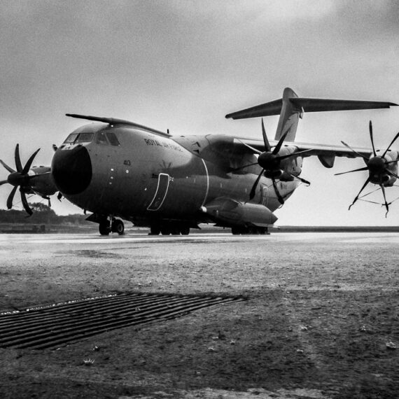 Humanitarian aid photography: A Royal Air Force A400M Atlas air transport aircraft of 70 Squadron (LXX Squadron) stands at Grantley Adams International Airport, Barbados, in storms following Hurricane Maria.Royal Air Force personnel remain in the Caribbean to support the Department for International Development with humanitarian operations. The UK's military task force is now preparing to support communities as Hurricane Maria moves through the region. RAF aircraft are pre-positioned in Barbados, which has been affected by high winds and torrential rain, ready to move aid and personnel to where they are needed.