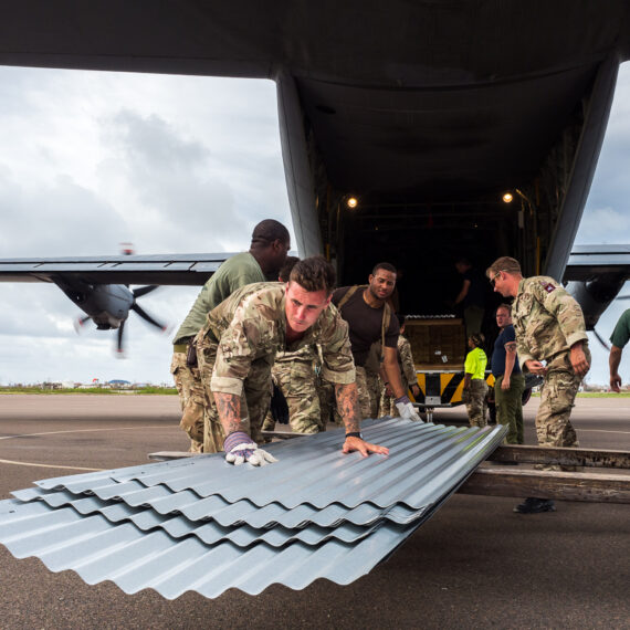 A Royal Canadian Air Force CC-130J Hercules aircraft delivers humanitarian aid and disaster relief from the UK Department for International Development (DfID) to Grand Turk, part of the Turks & Caicos Islands, on 20 September 2017. Royal Marines Commandos, British soldiers and personnel from the Royal Bermuda Defence Force helped offload more than five tonnes of aid, as Turks & Caicos prepared for Hurricane Maria.The Canadian Armed Forces are supporting DfID as part of a 1,300-strong military and civilian task force in the Caribbean, following the devastation wrought by Hurricanes Irma and Maria.
