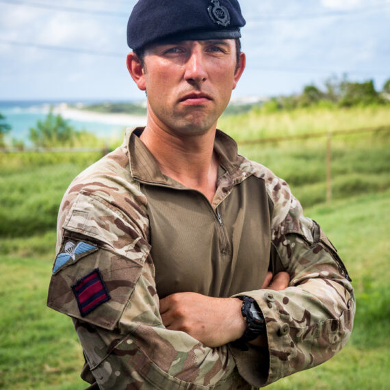 Humanitarian aid photography: Lance Corporal Luke Edwards of 54 Commando Squadron, 24 Commando Royal Engineers, deployed to the Caribbean in September 2017 to support humanitarian aid work after hurricanes Irma and Jose. LCpl Edwards was based in Anguilla, where he helped restore electrical power to critical infrastructure - including police stations, a hospital and schools - and helped re-roof schools so that children could return to their classrooms.
