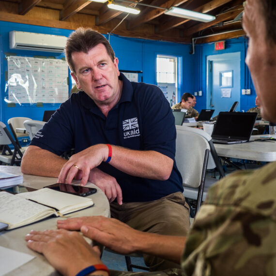 Humanitarian aid photography: Chris Austin leads the UK Government's Joint Task Force for hurricane relief in the Caribbean following hurricanes Irma, Jose and Maria. Mr Austin leads a team of more than 2,000 military and civilian personnel supporting efforts to get stricken islands back to business.