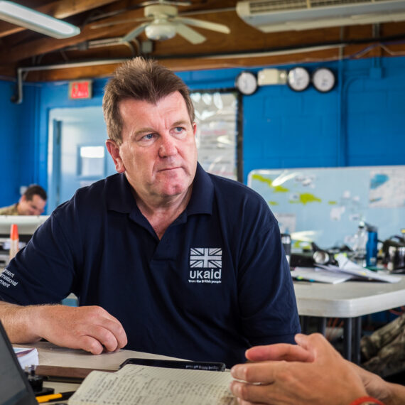 Portrait photography news and features: Chris Austin leads the UK Government's Joint Task Force for hurricane relief in the Caribbean following hurricanes Irma, Jose and Maria. Mr Austin leads a team of more than 2,000 military and civilian personnel supporting efforts to get stricken islands back to business.