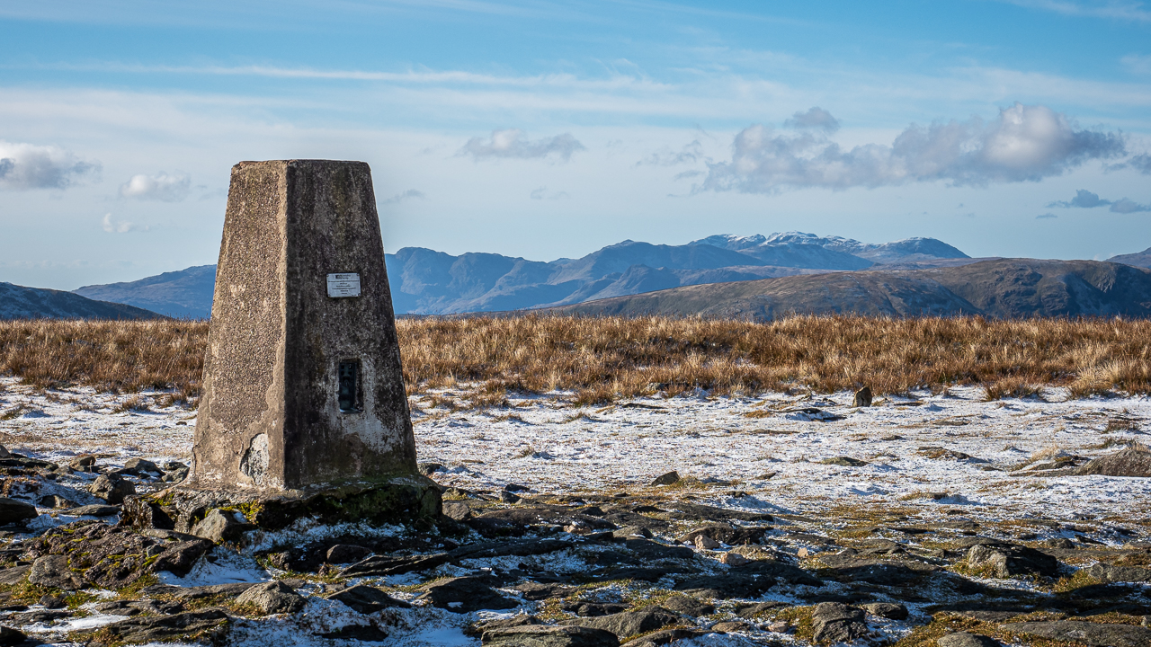 The summit trig point on High Street, a fell in the Lake District, Cumbria, England.