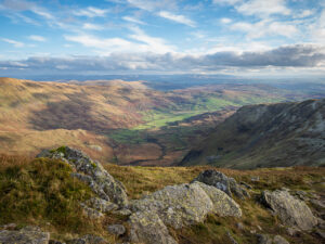 Kentmere, a valley in the Lake District, Cumbria, England, seen from Ill Bell, a fell on the Kentmere Horseshoe.
