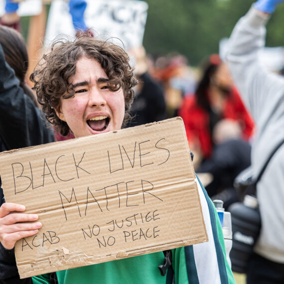 London, UK, 3 June 2020 - Black Lives Matter protesters assembled in Hyde Park for a demonstration over the death in custody of George Floyd in Minnesota.