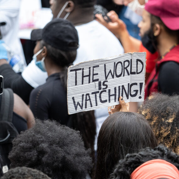 London, UK, 3 June 2020 - Black Lives Matter protesters marched to Parliament following a large demonstration in Hyde Park over the death in custody of George Floyd in Minnesota.